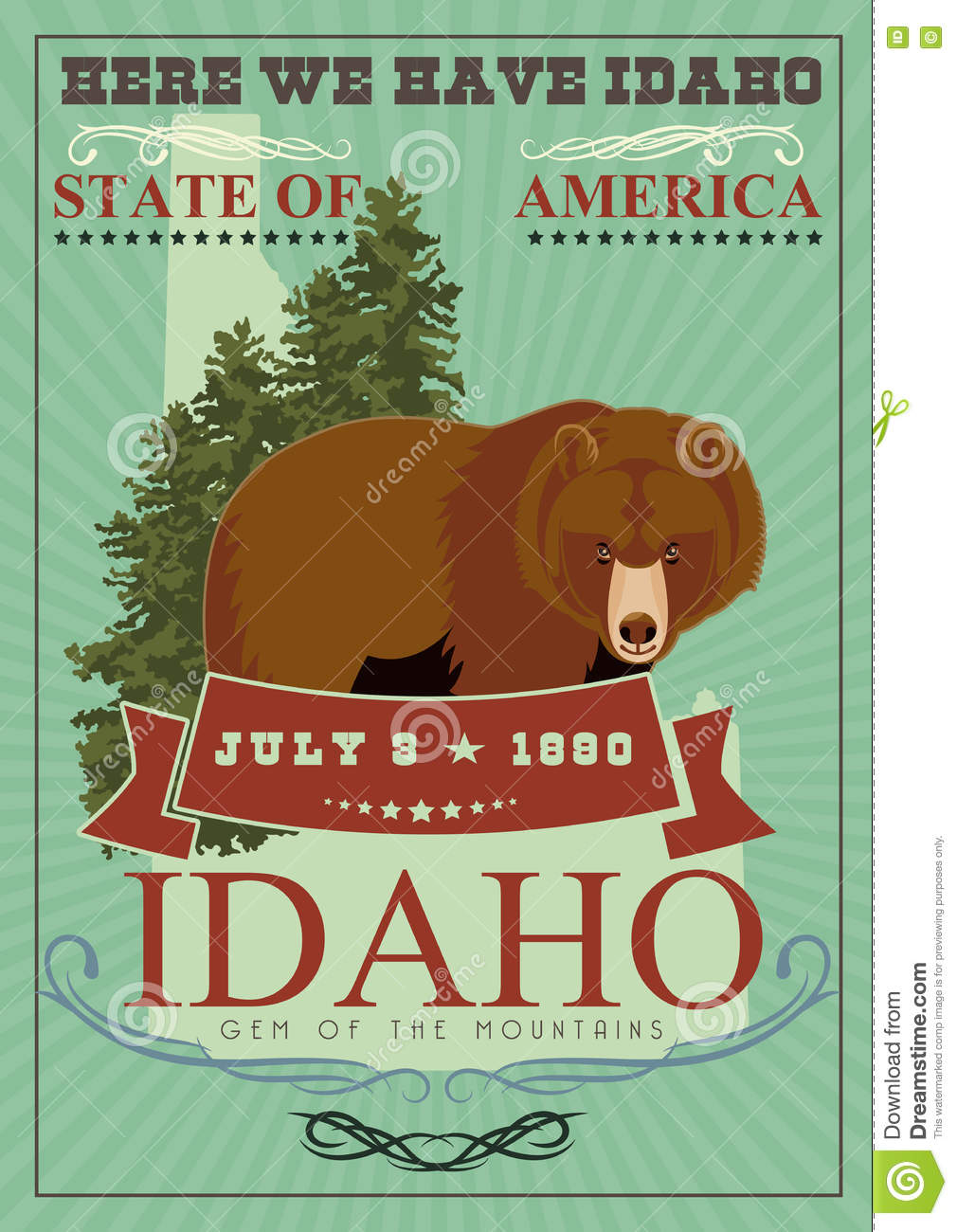 United States of America card with bear
