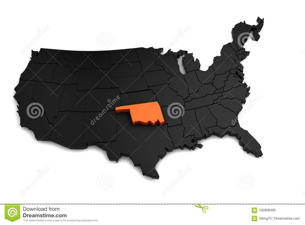 United States Of America, 3d Black Map, With Oklahoma State ...