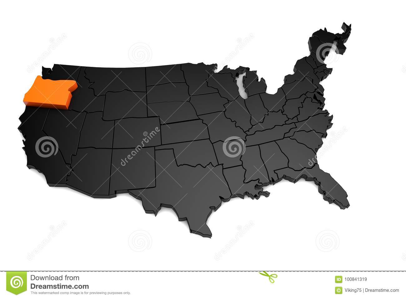 United States Map Oregon.United States Of America 3d Black Map With Oregon State
