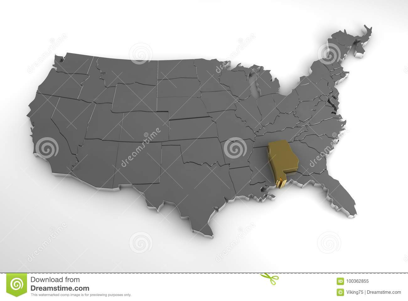 Alabama United States Map.United States Of America 3d Metallic Map With Alabama State