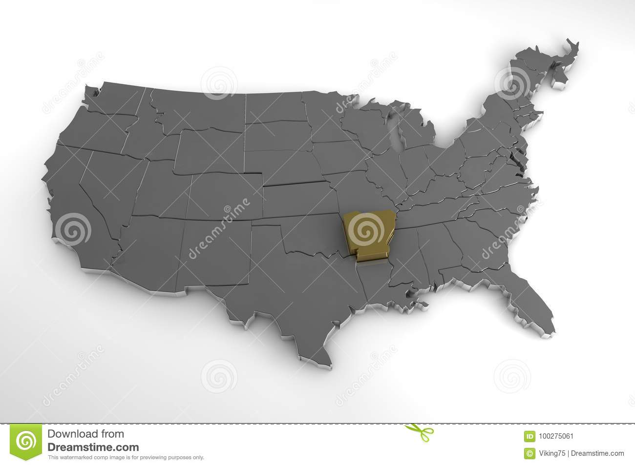 United States Of America, 3d Metallic Map, With Arkansas State ...