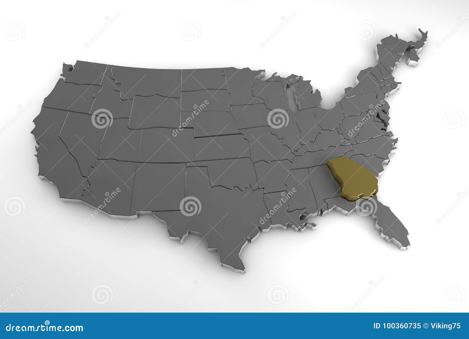 United States Of America 3d Metallic Map With Georgia State - Us-map-georgia-state