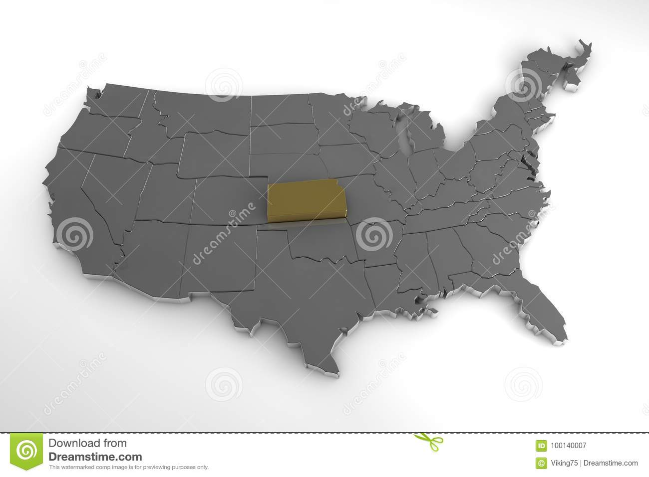 United States Of America, 3d Metallic Map, With Kansas State ...