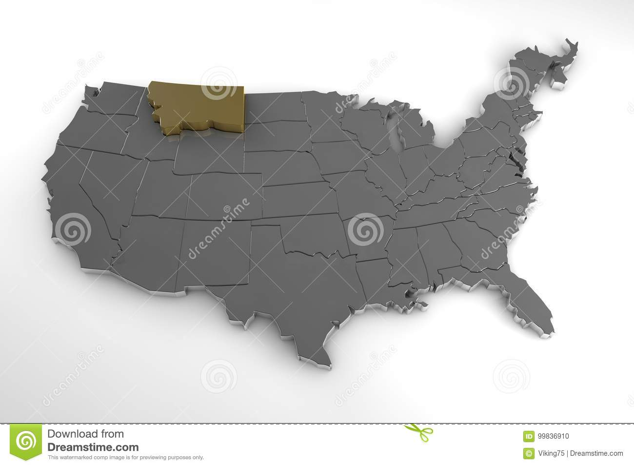United States Of America, 3d Metallic Map, Whith Montana State ...