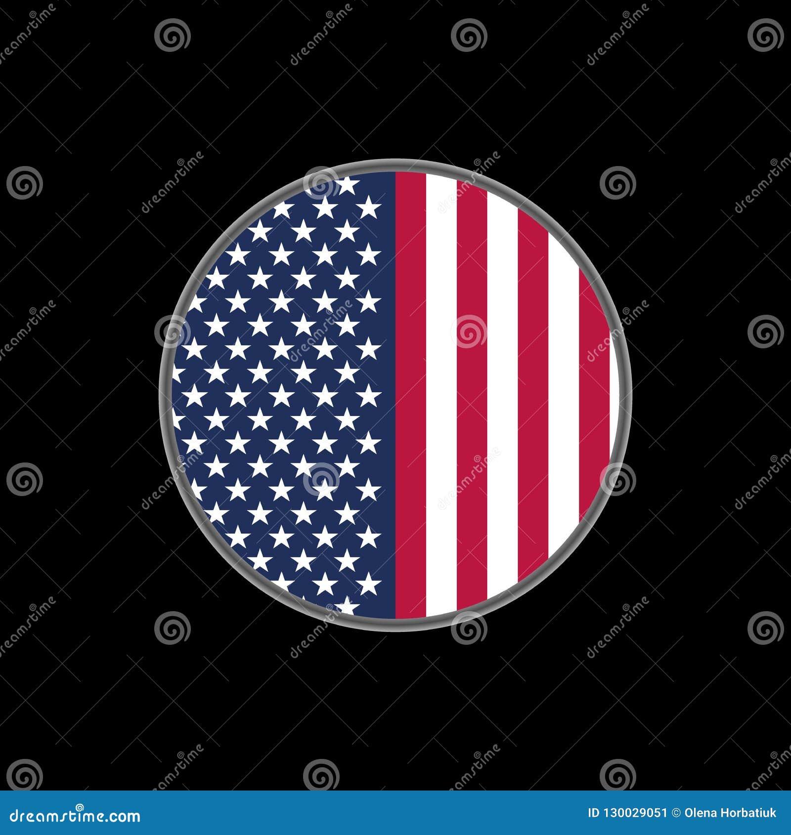 United States of America flag on circle.