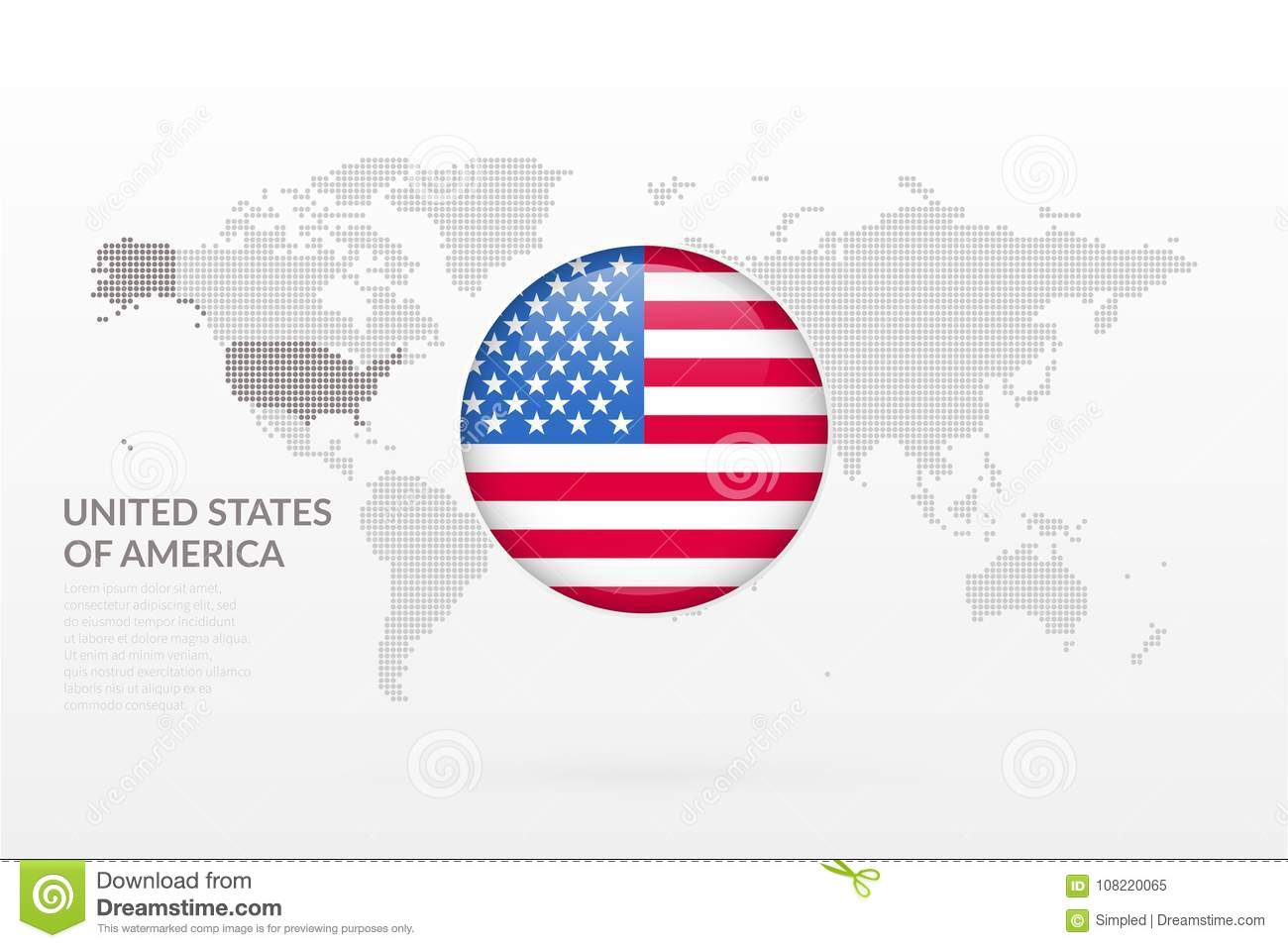 United States Of America Glossy Flag Icon. Vector World Map ...