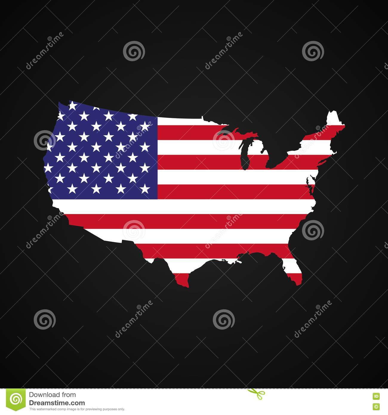 United States Of America Map With The Flag Inside Silhouette Usa - Us map dark