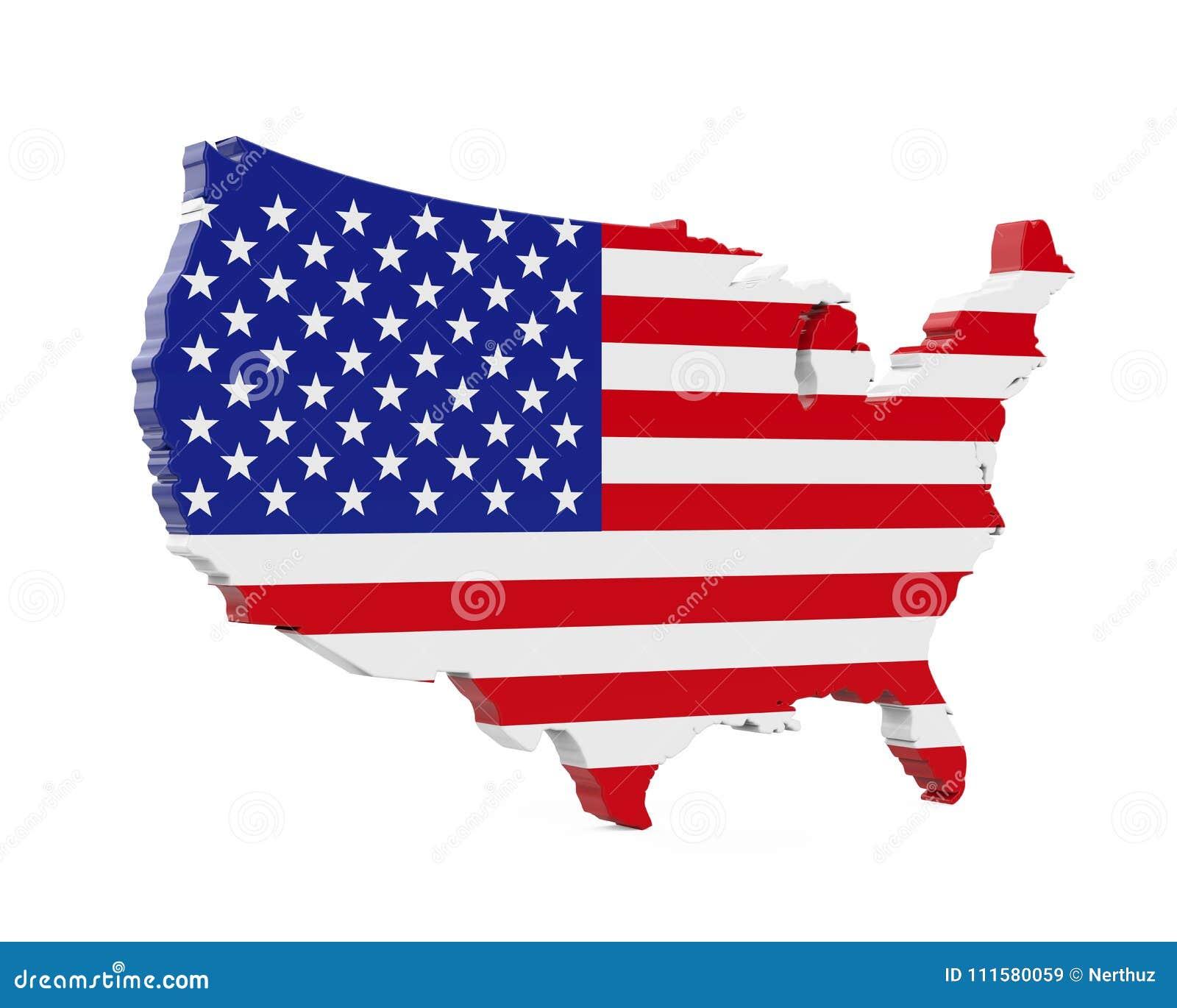 United States Of America Map Flag Stock Illustration - Illustration ...