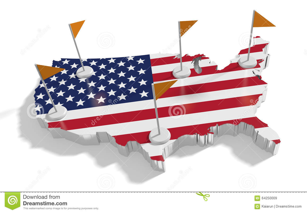 United States Of America Map With Flags On The Flagpoles. Stock ...