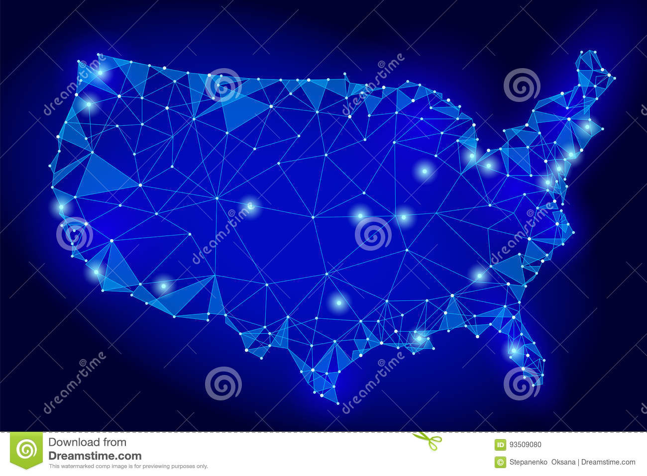 United States Of America Map Low Poly Style Connected Dots - Us map dark