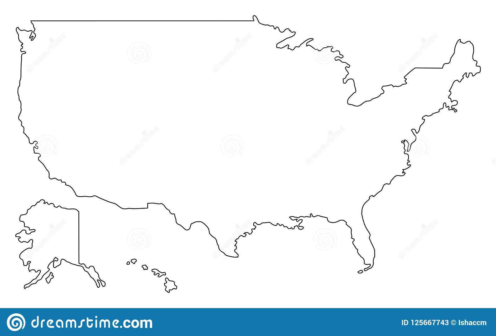 Map Of America Outline.United States Of America Map Outline Vector Illustartion Usa