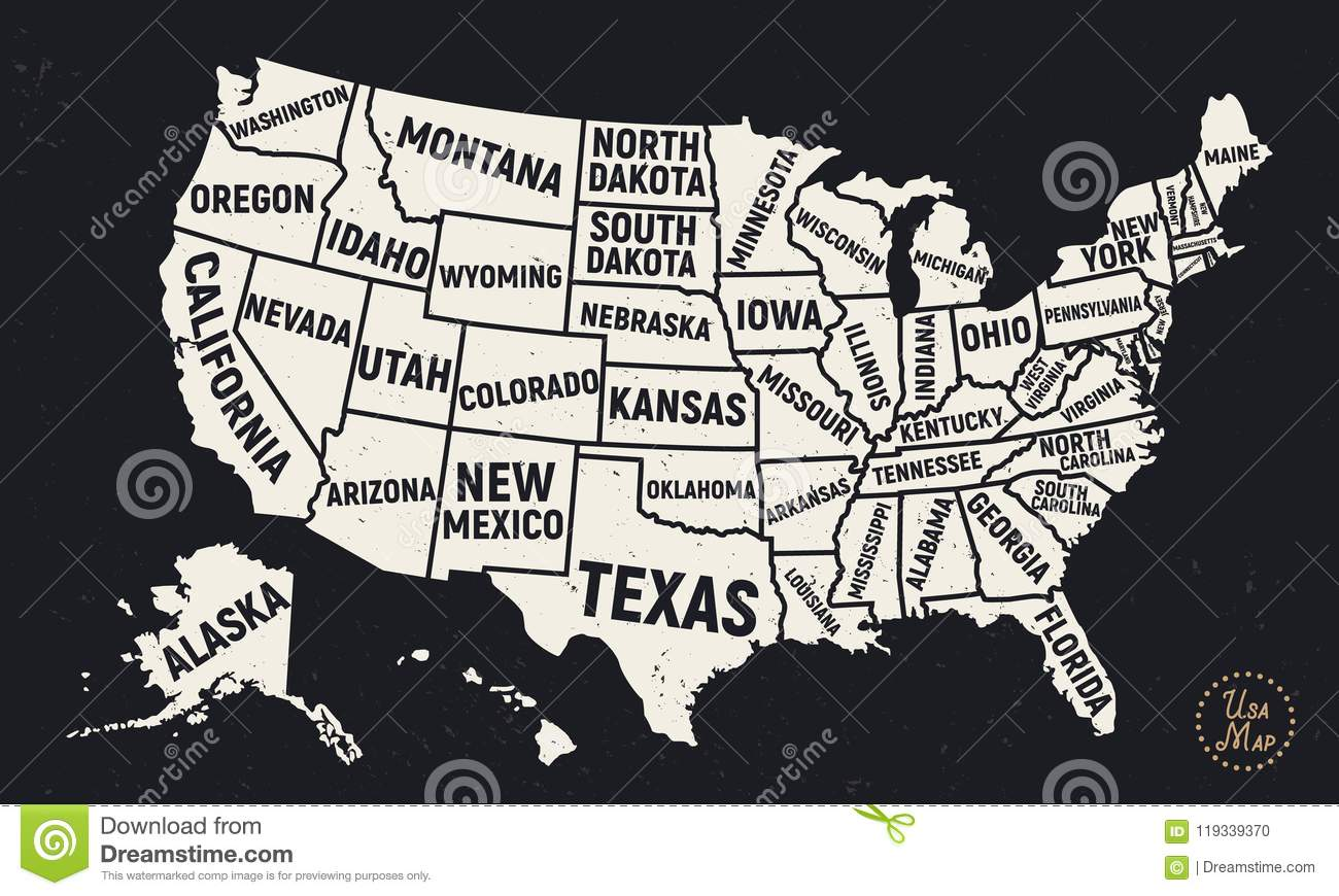 United States Of America Map With Short State Names. USA Background ...