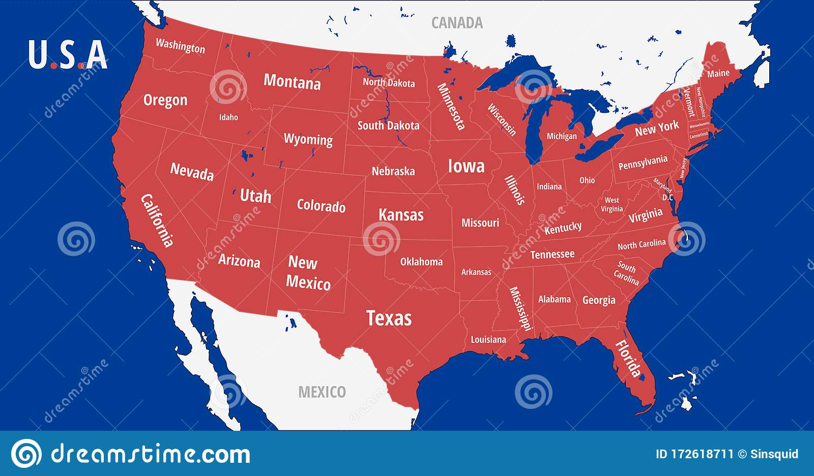 Image of: United States Of America Map With States Stock Vector Illustration Of Concept Country 172618711