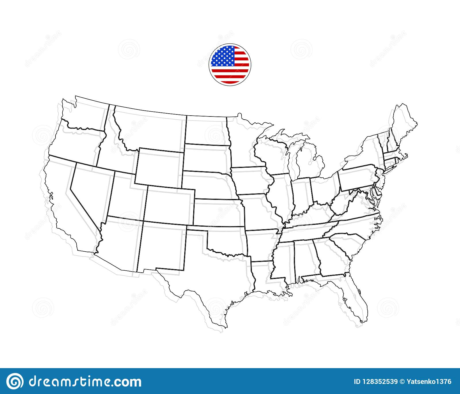 United States Of America Map. USA Vector. Black Stock Vector ...