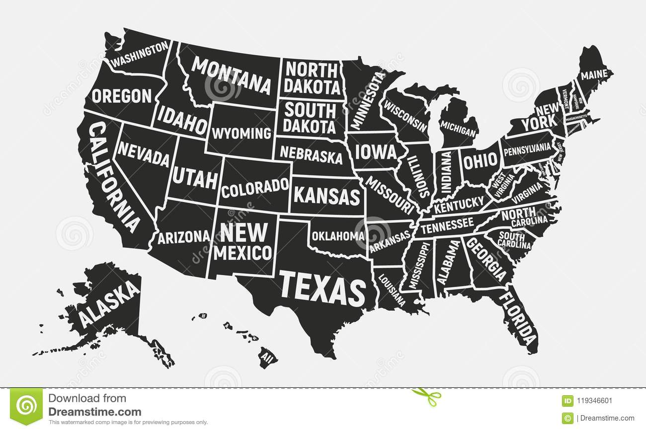 American Map Vector.United States Of America Map Poster Map Of Usa With State Names