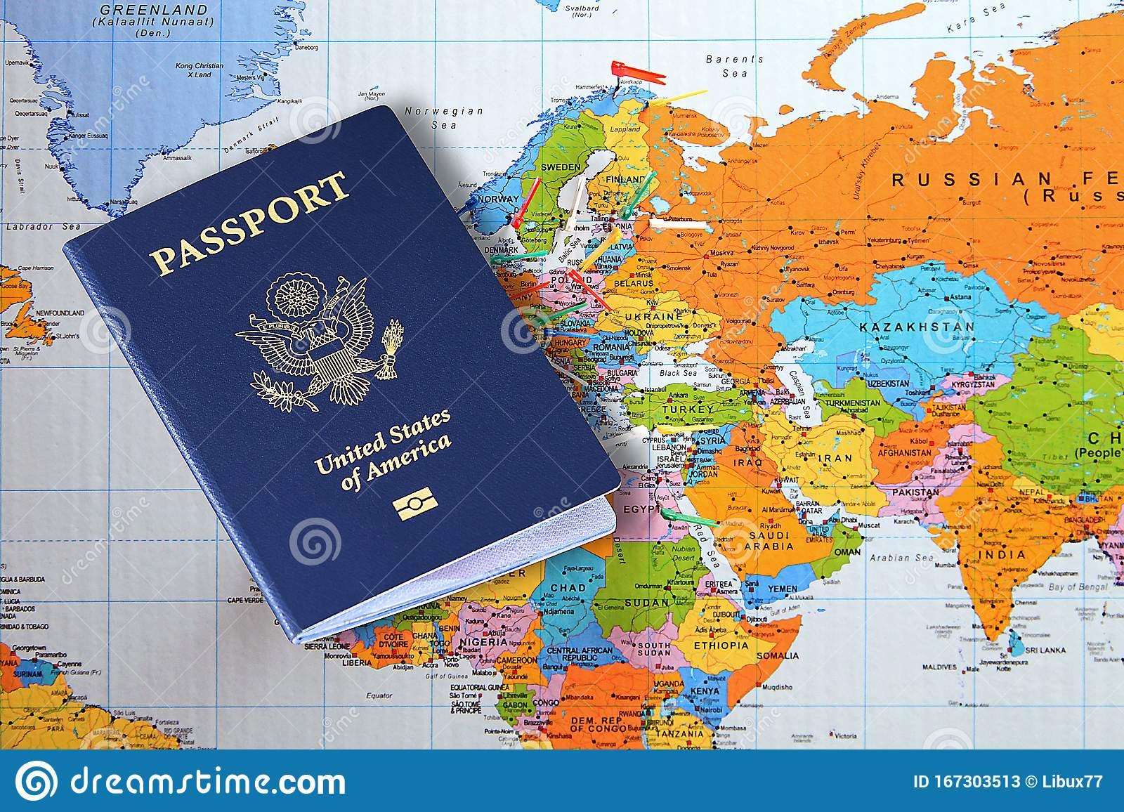 United States Of America Passport On World Map Stock Image Image Of Business Blue 167303513