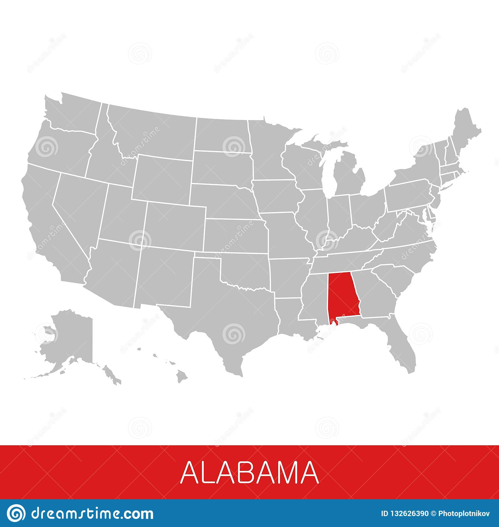 United States Of America With The State Of Alabama Selected. Map Of ...