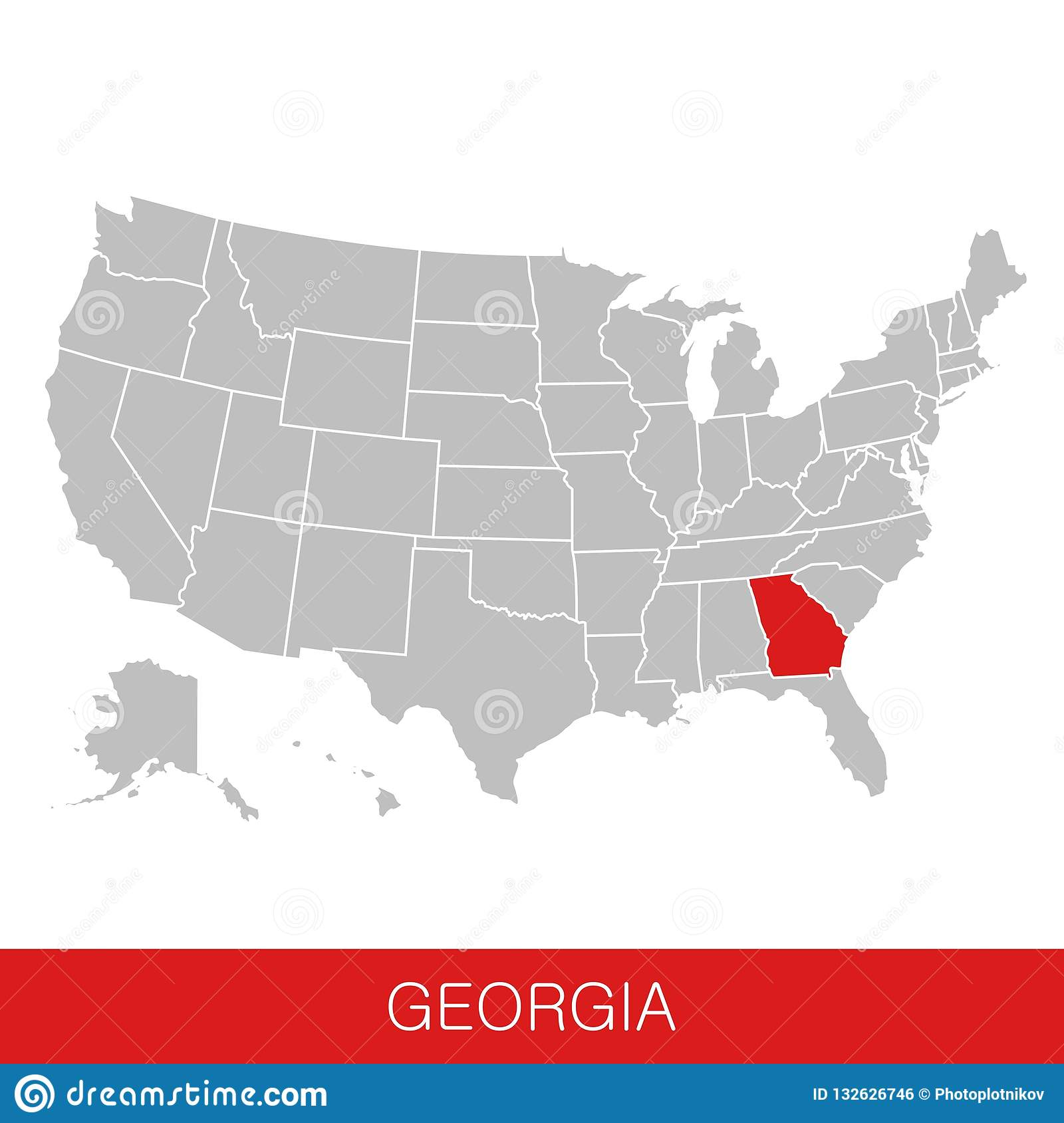 Map Of State Of Georgia Usa.United States Of America With The State Of Georgia Selected Map Of