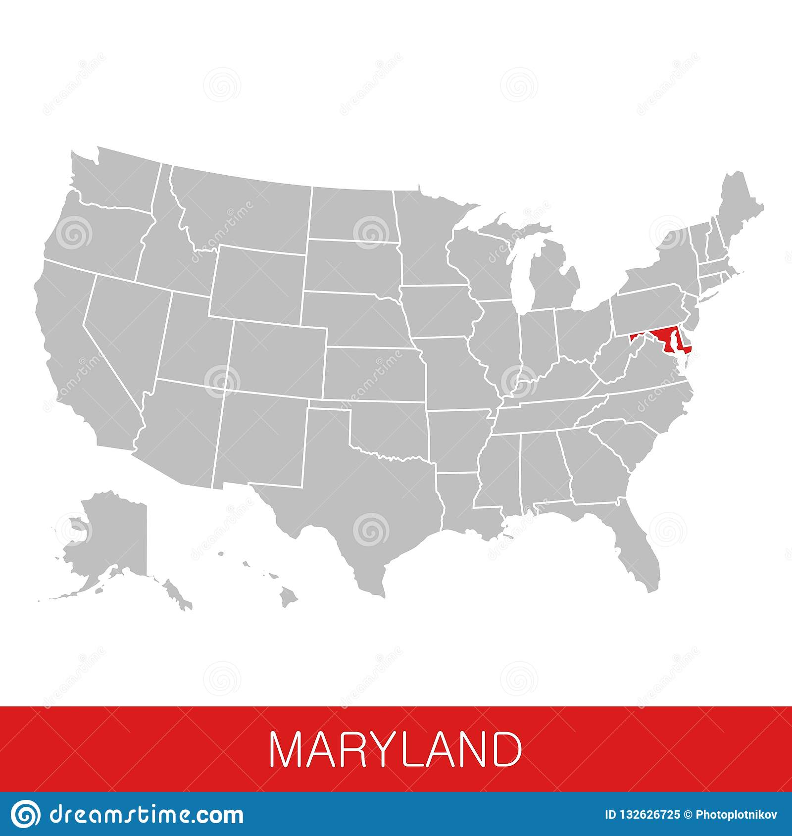United States Of America With The State Of Maryland Selected. Map Of ...
