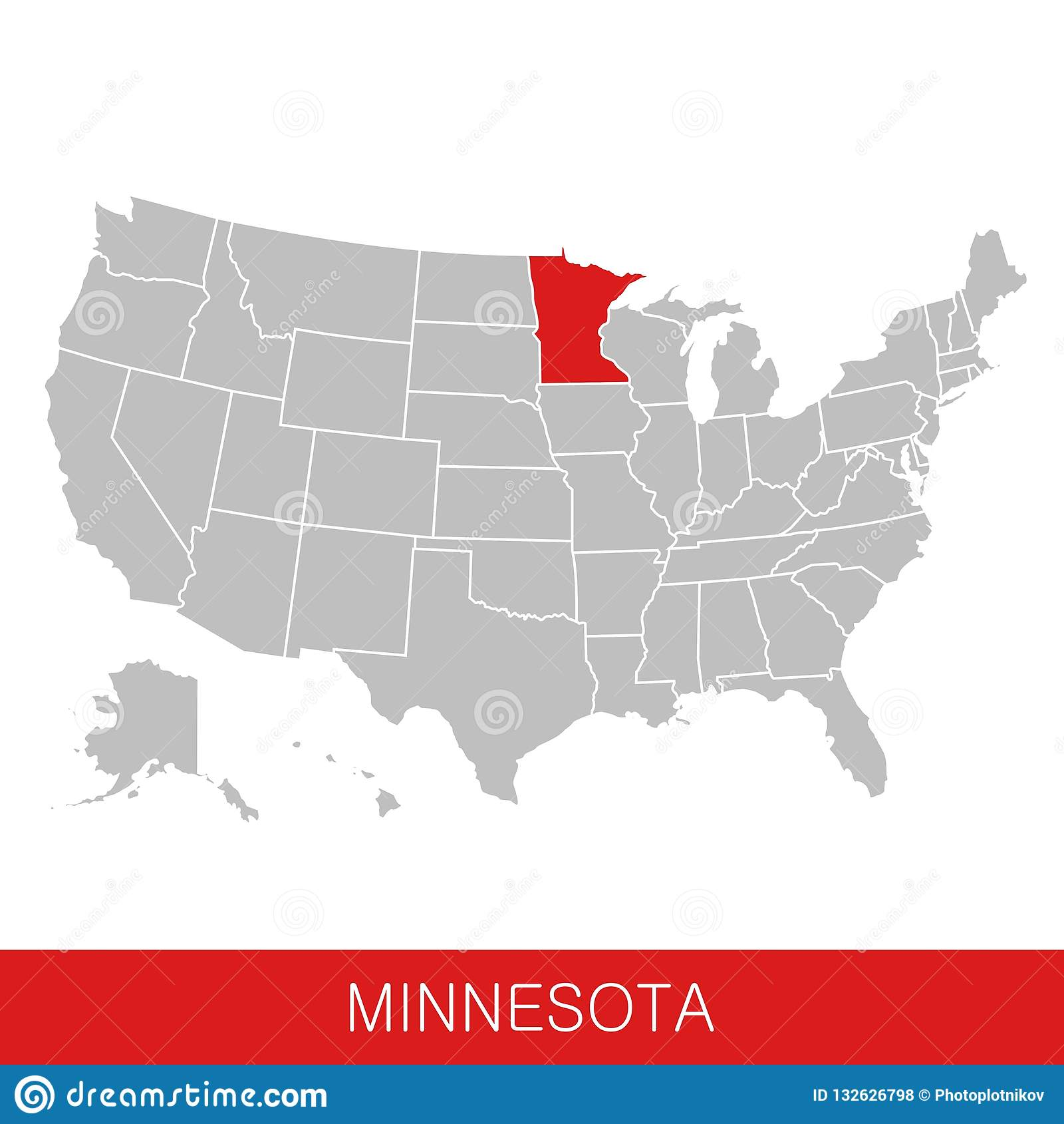 United States Of America With The State Of Minnesota Selected. Map ...