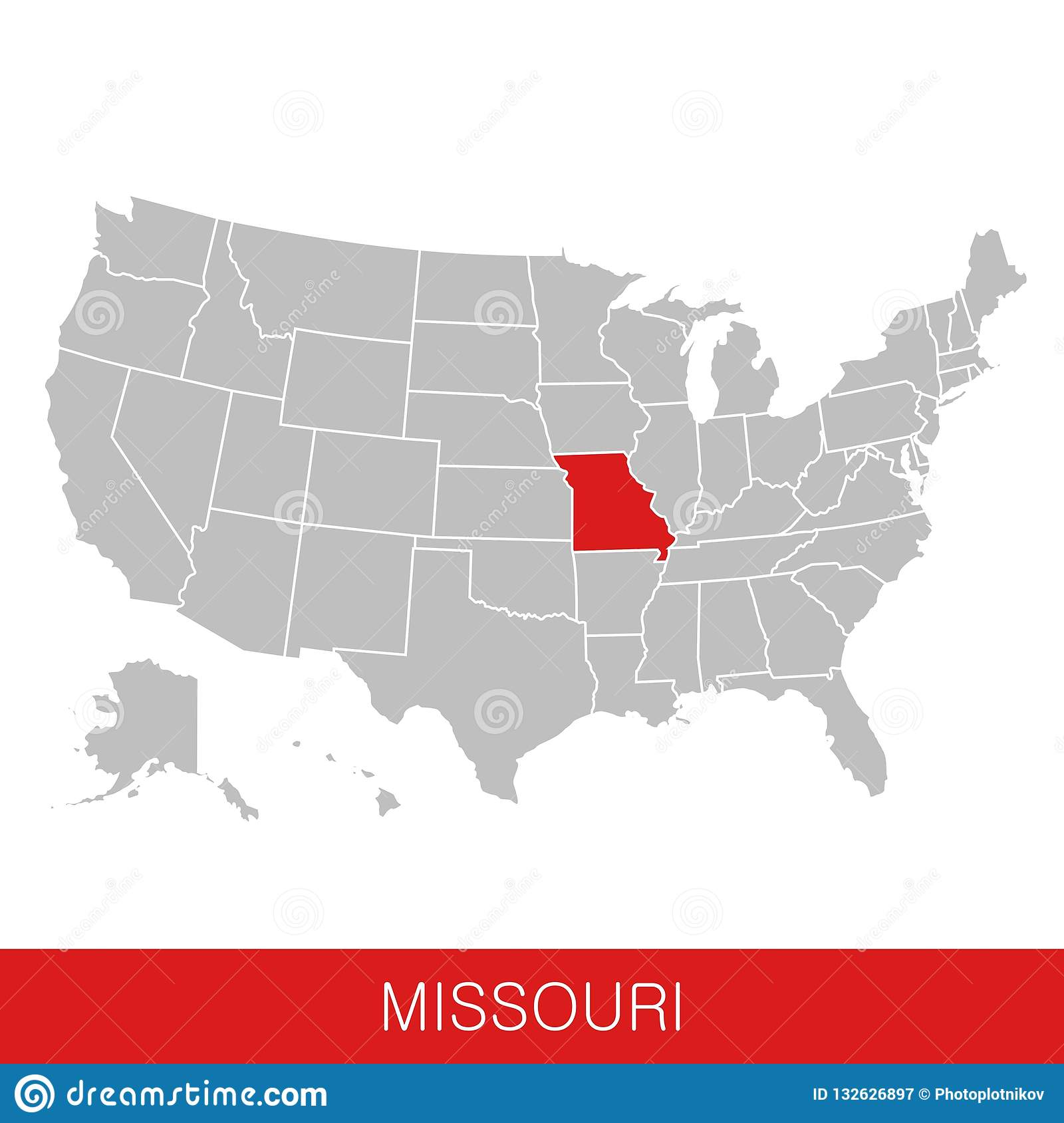 United States Of America With The State Of Missouri Selected ...