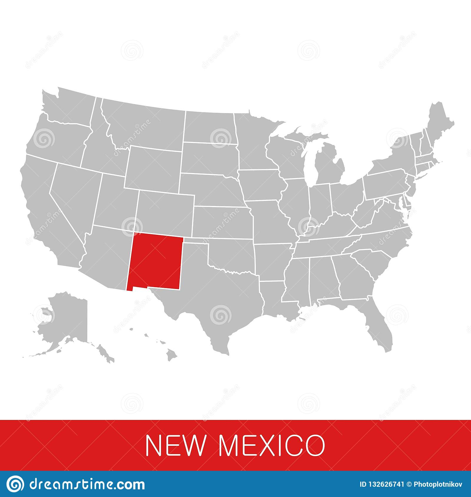 United States Of America With The State Of New Mexico Selected. Map ...