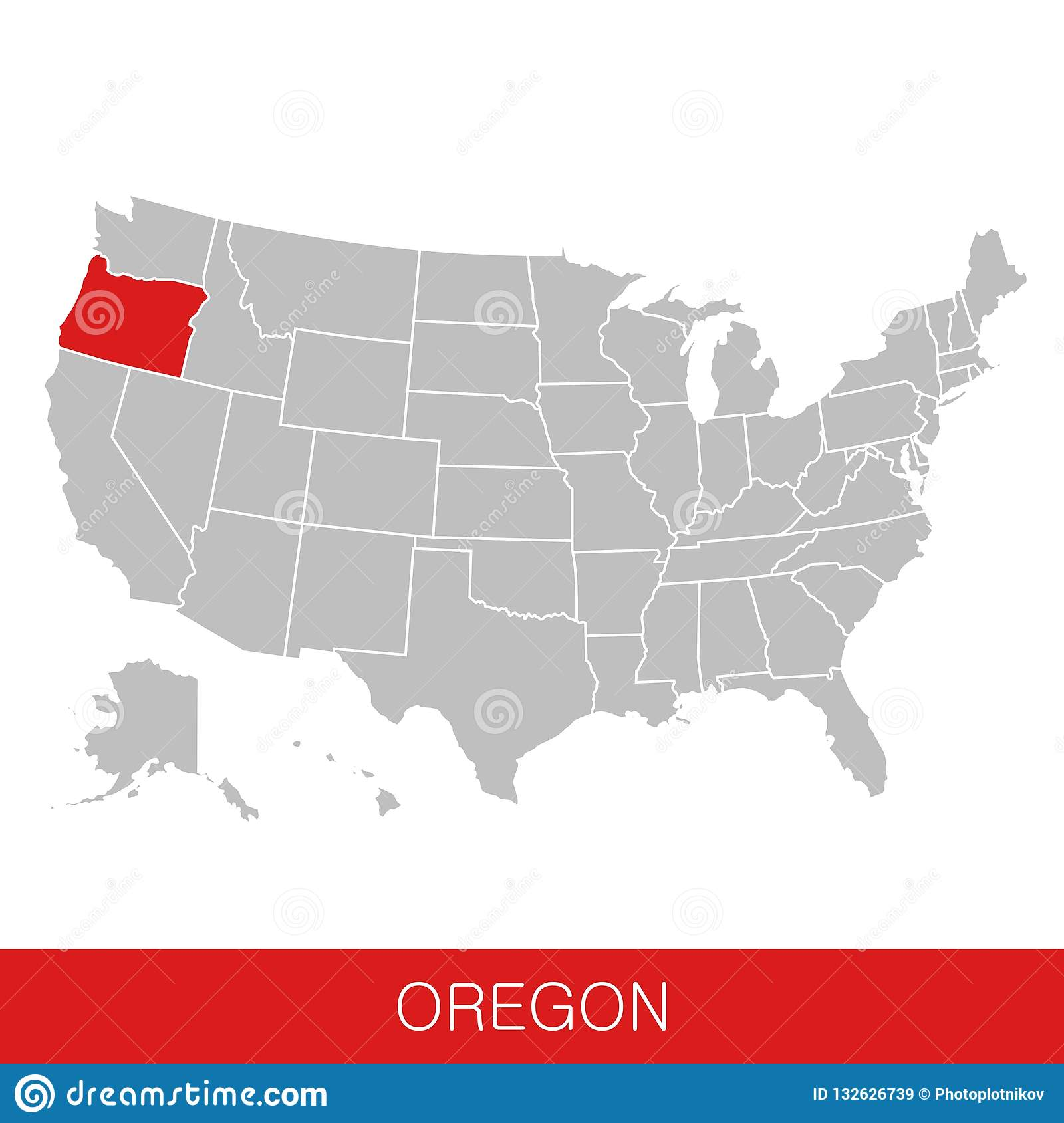 United States Of America With The State Of Oregon Selected. Map Of ...