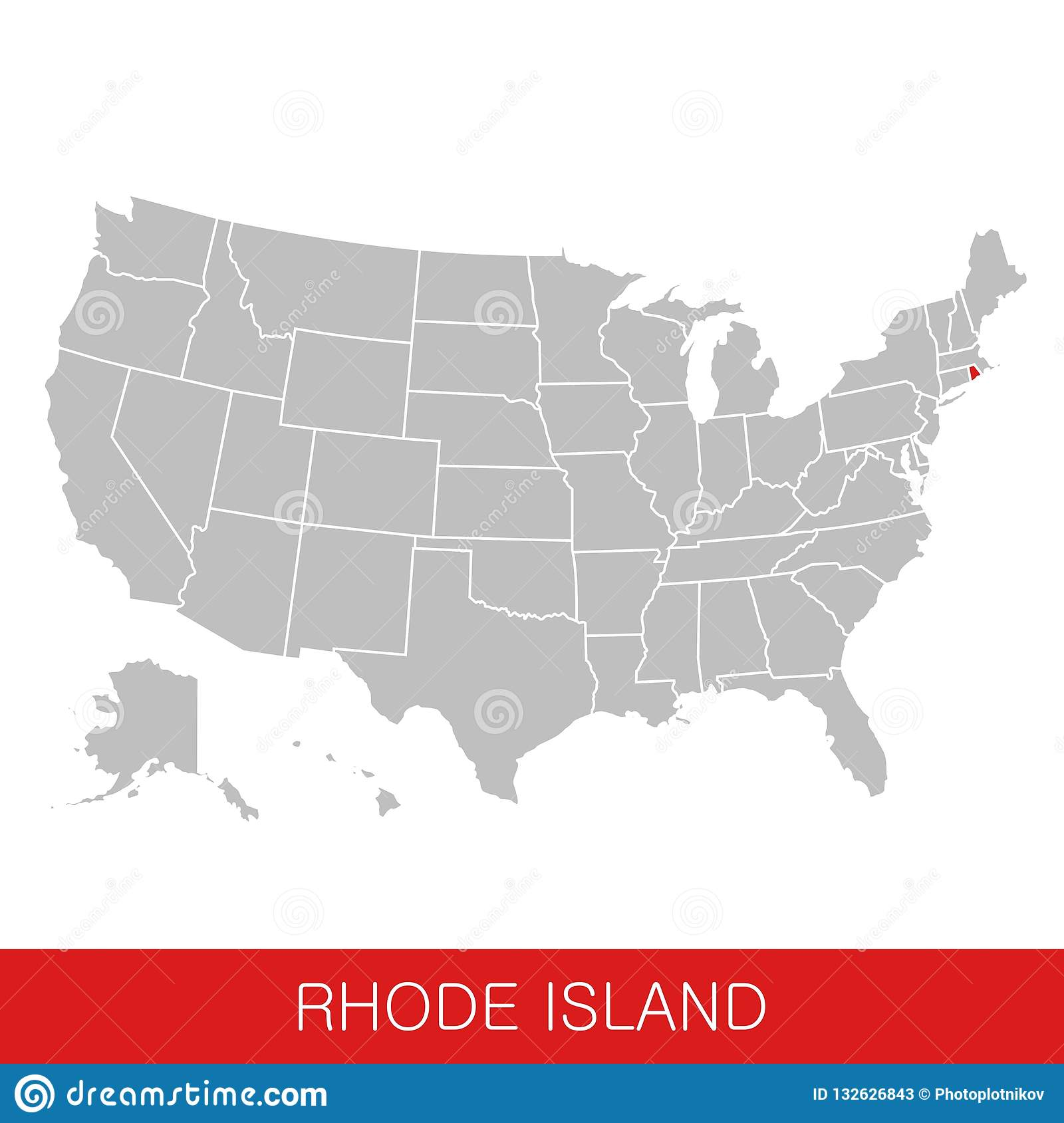 United States Of America With The State Of Rhode Island Selected ...