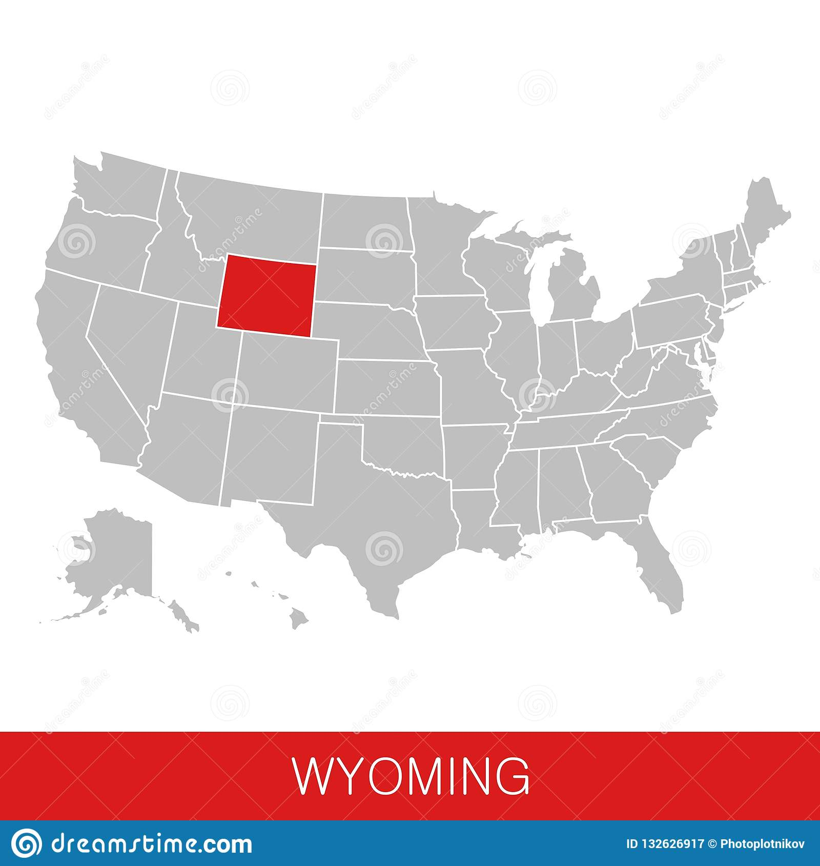 United States Of America With The State Of Wyoming Selected ...