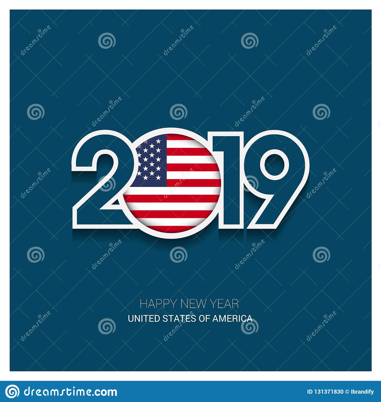 2019 United States of America Typography, Happy New Year Background