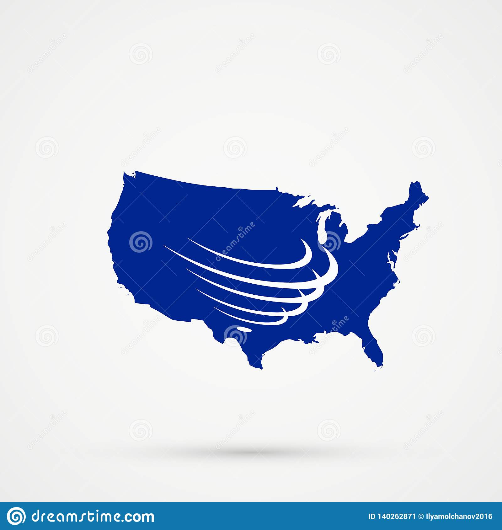 United States Of America USA Map In Union Of South American ...