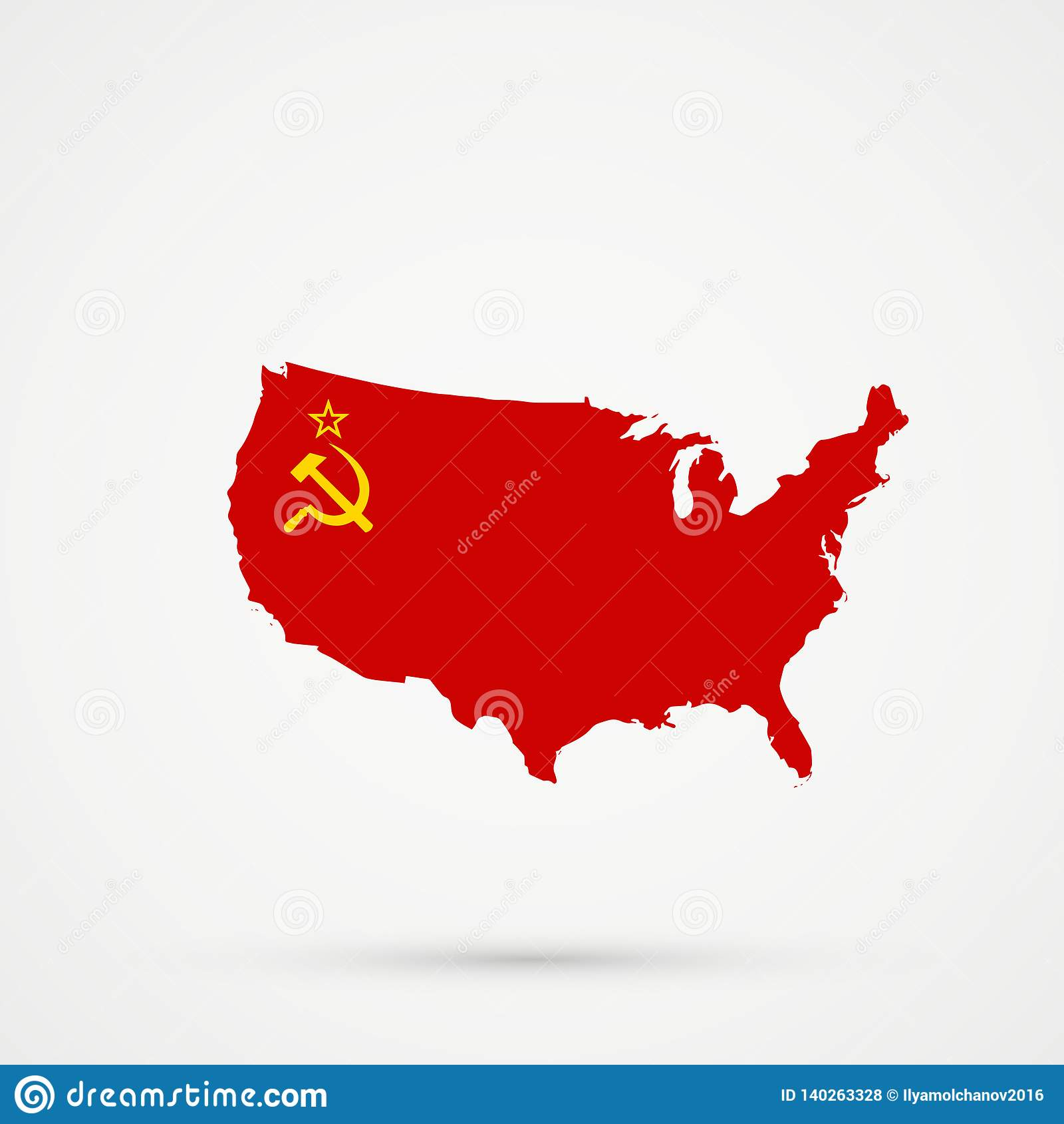United States Of America USA Map In Union Of Soviet Socialist