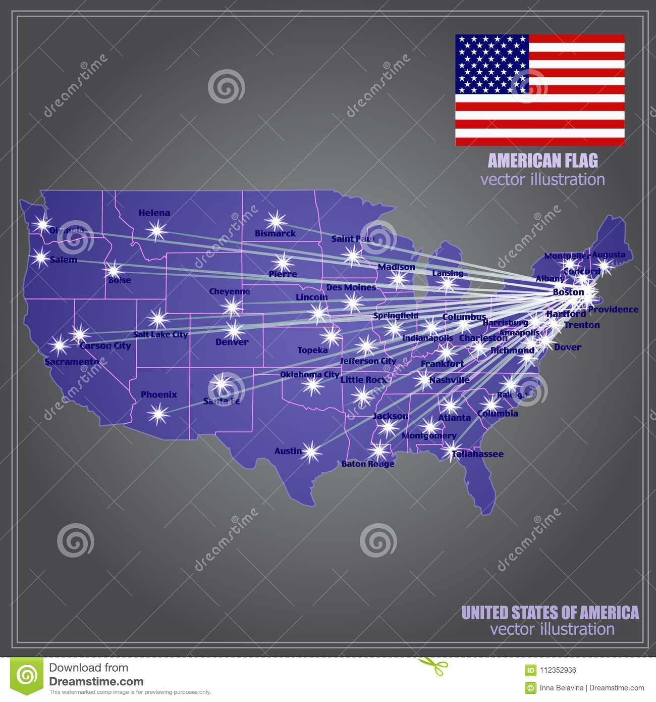 United States Of America Vector Map. Illustration. Stock Vector ...