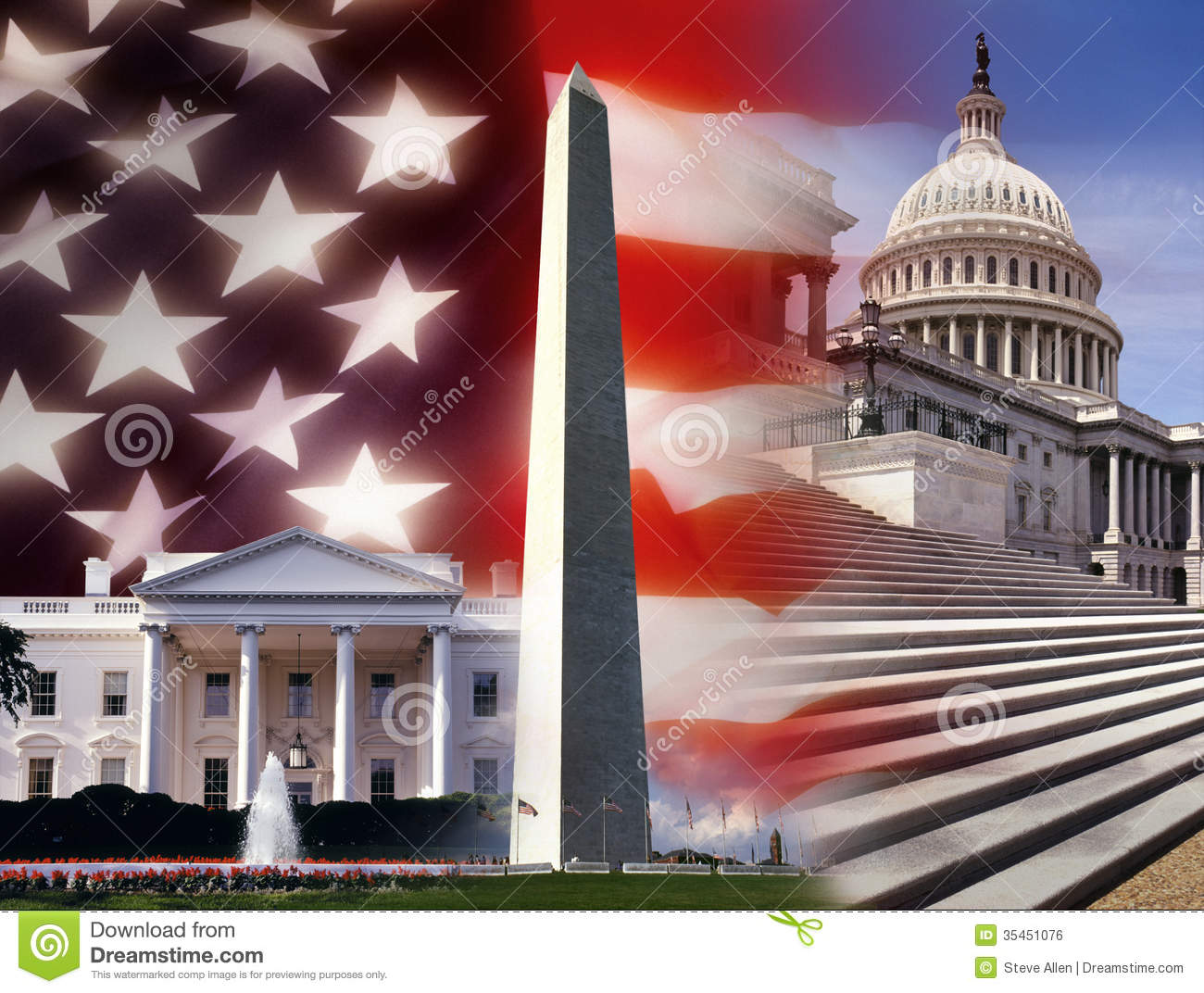 United States Constitution And Flag Landscape
