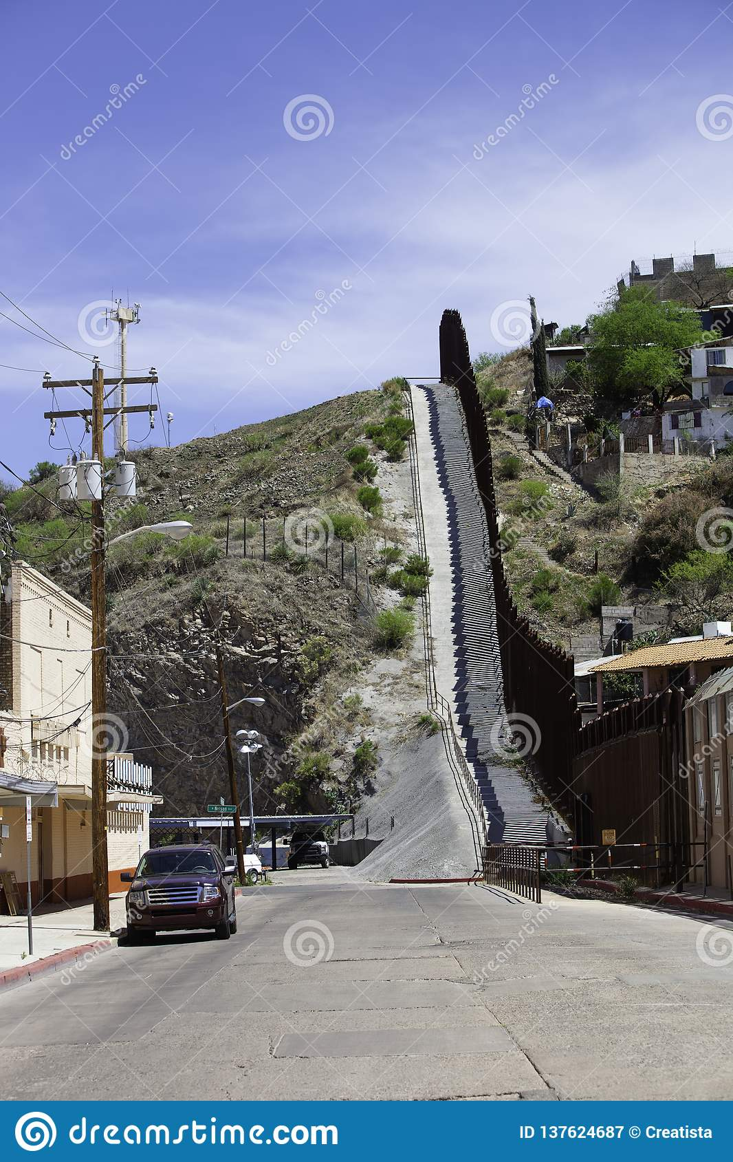 United States Border Wall with Mexico in Nogales Arizona