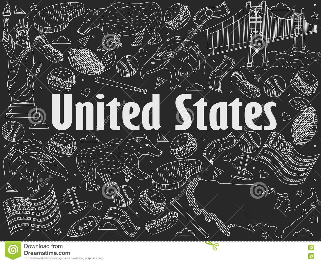 Line Art United States : United states chalk vector illustration stock