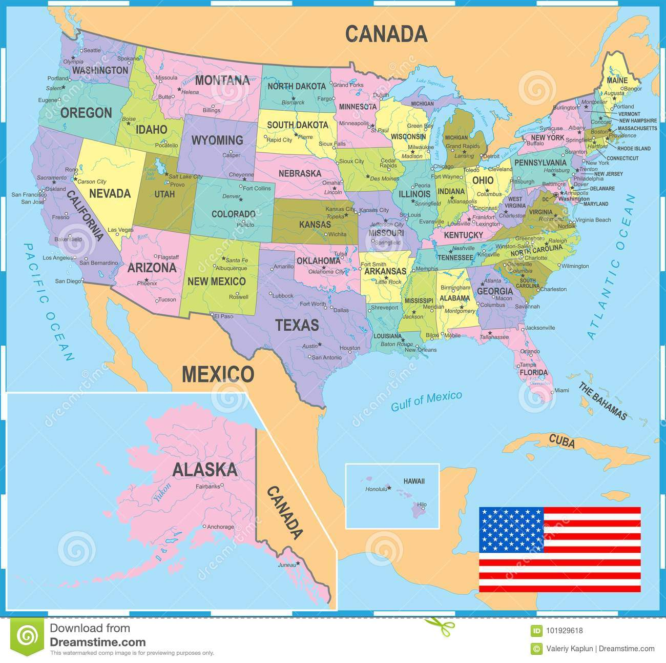 Colored Map Of Canada.United States Colored Map Vector Illustration Stock Illustration