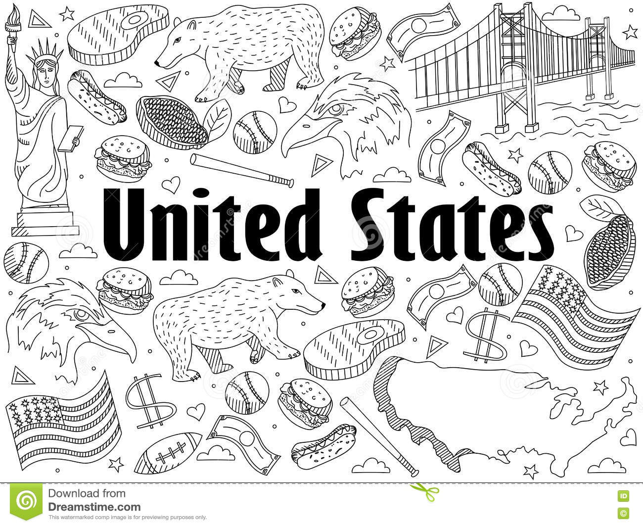 Line Drawing United States : United states coloring book vector illustration stock