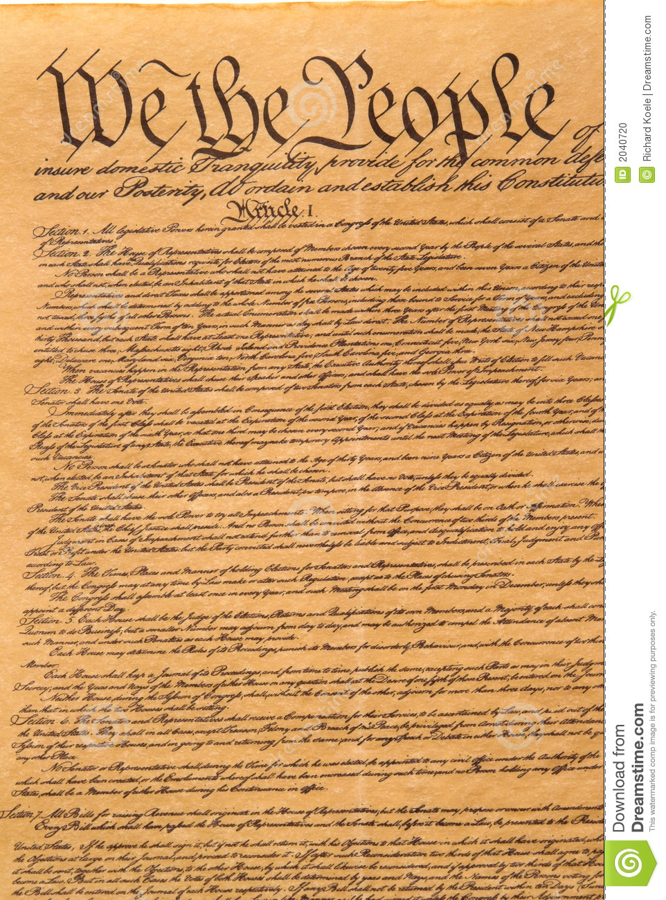 United States Constitution Stock Photo - Image: 2040720