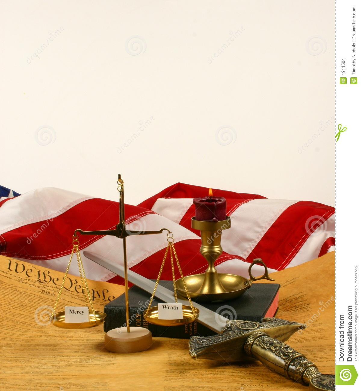 United States Constitution, Bible, scales weighing