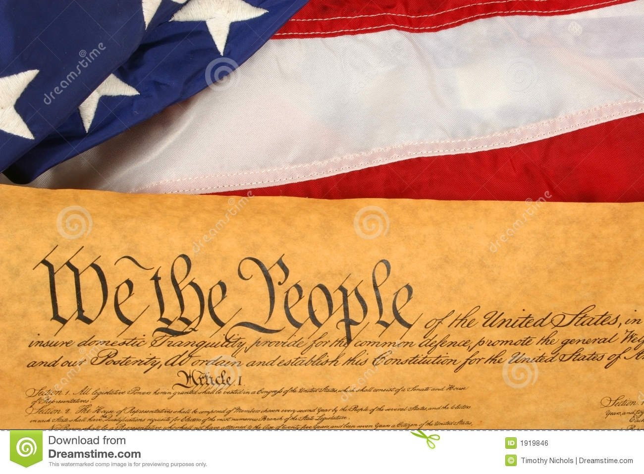 United States Constitution And Flag -- Landscape