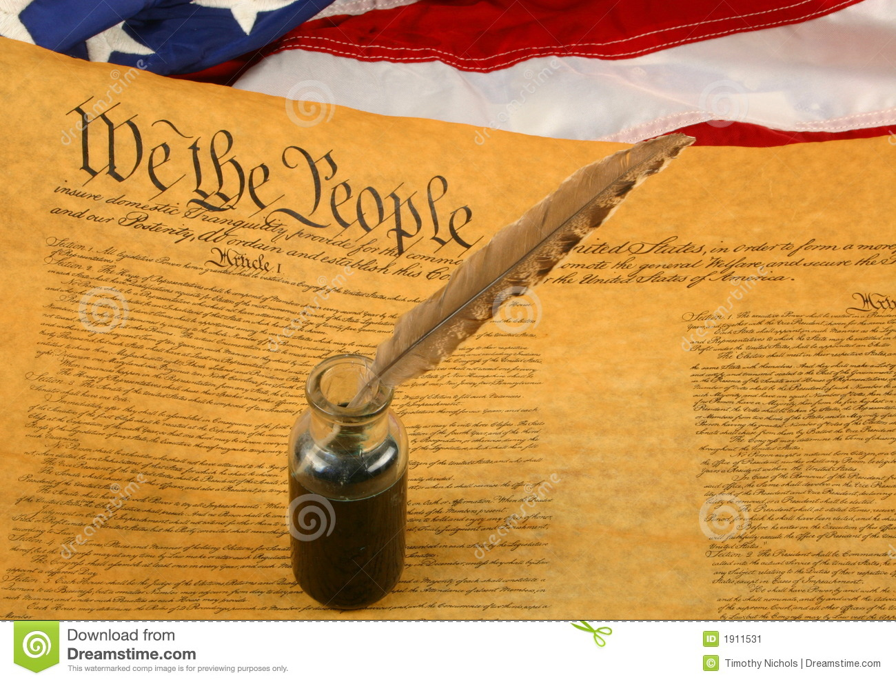 United States Constitution, Quill Pen in Inkwell, and Flag