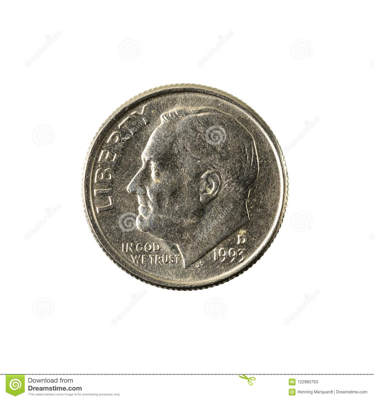 1 united states dime coin 1993 reverse
