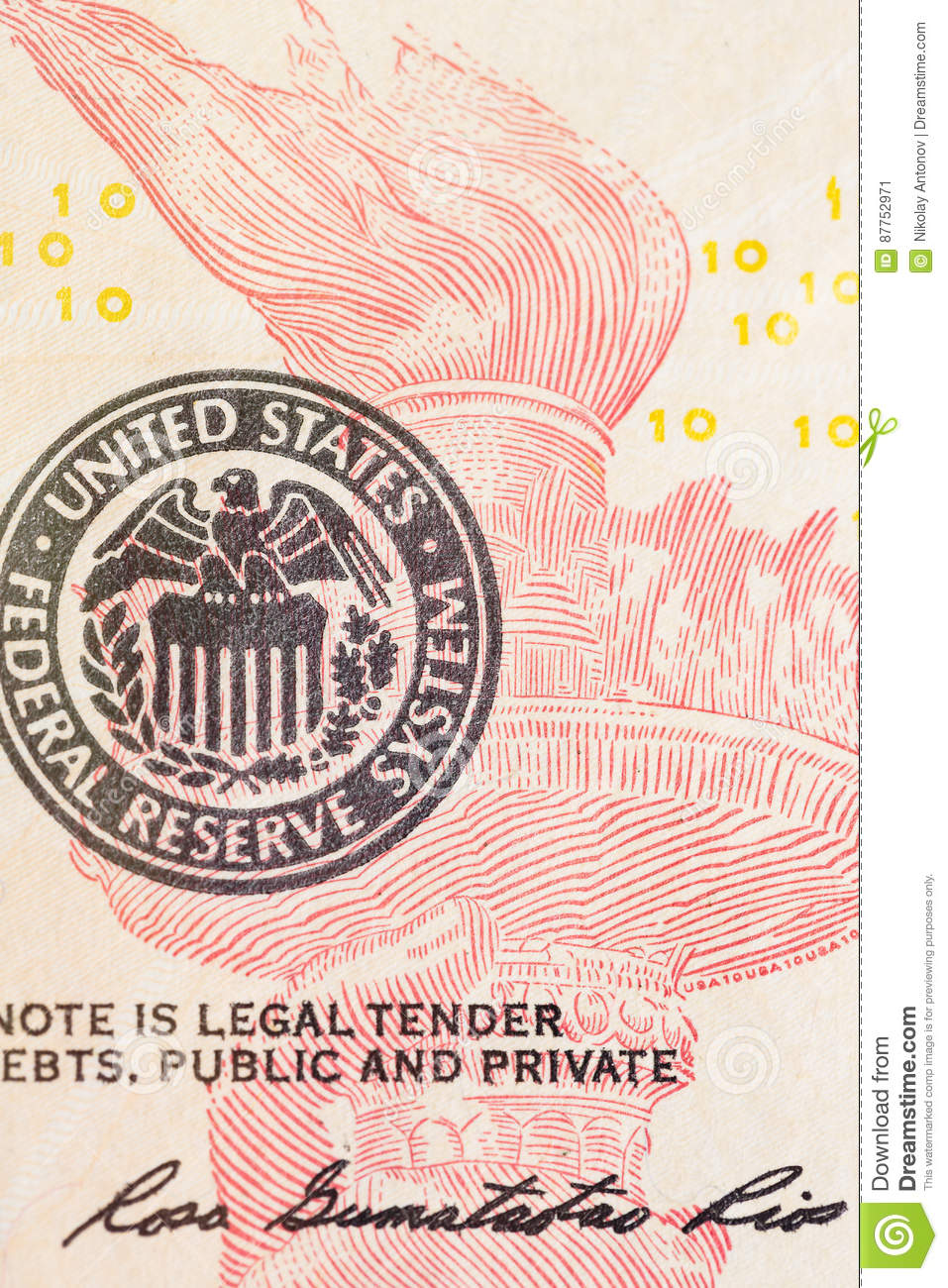 United States Federal Reserve System Symbol With Torch From Ten