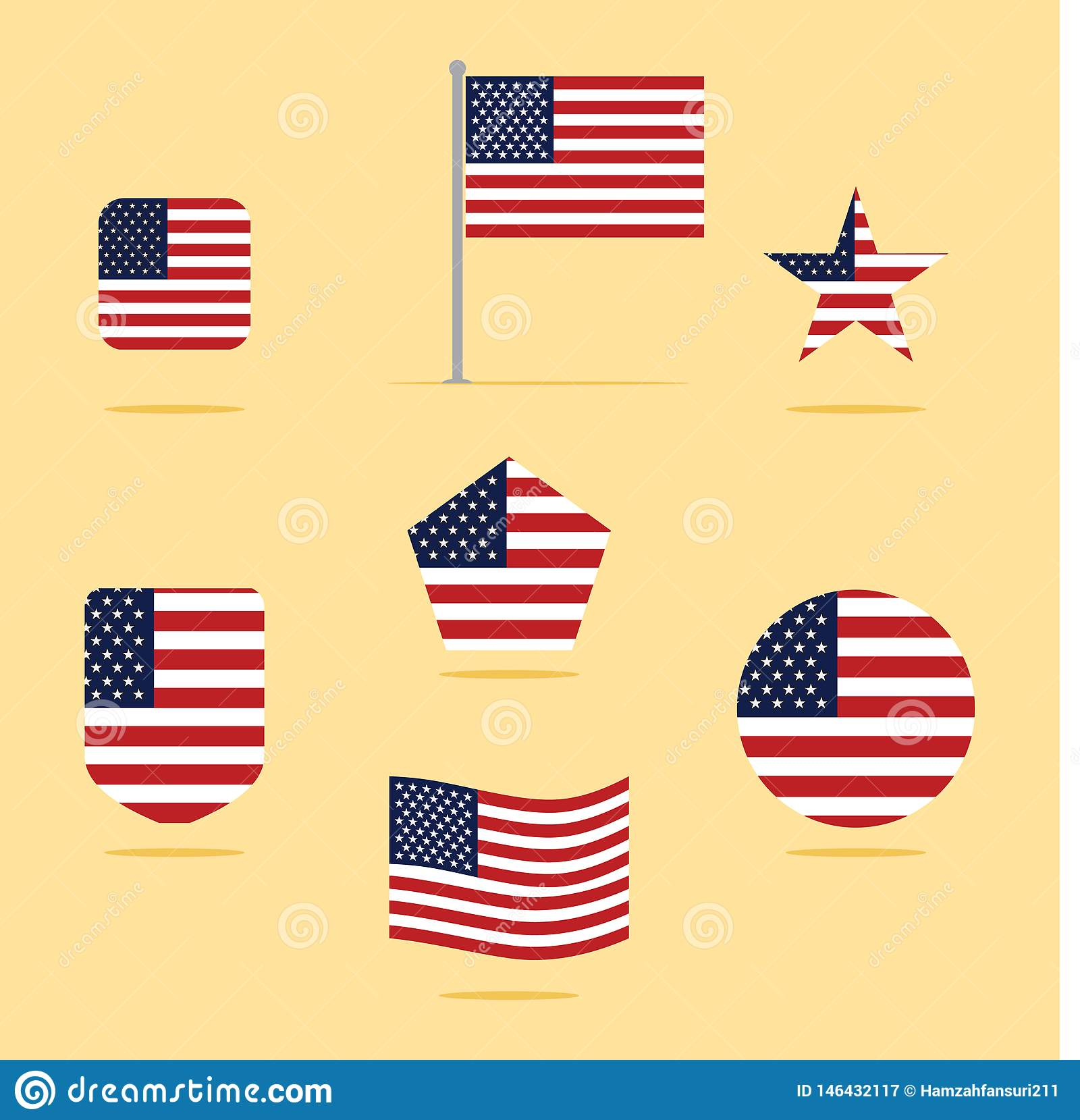 American Flag Icon Set Vector Illustration