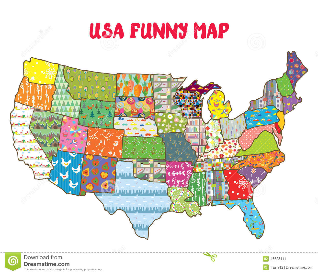 United States Funny Map With Patterns Stock Vector Illustration Of