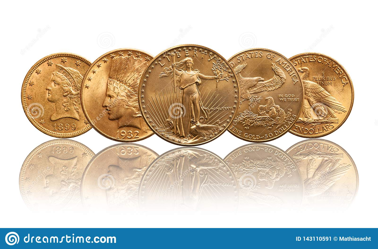 United states gold coins liberty, indian head, eagle