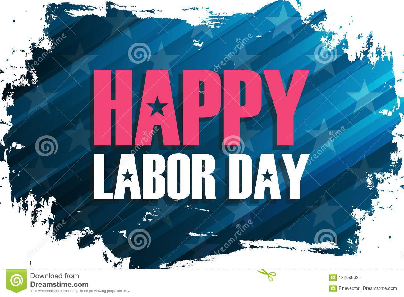 United States Labor Day Celebrate Banner With Brush Stroke