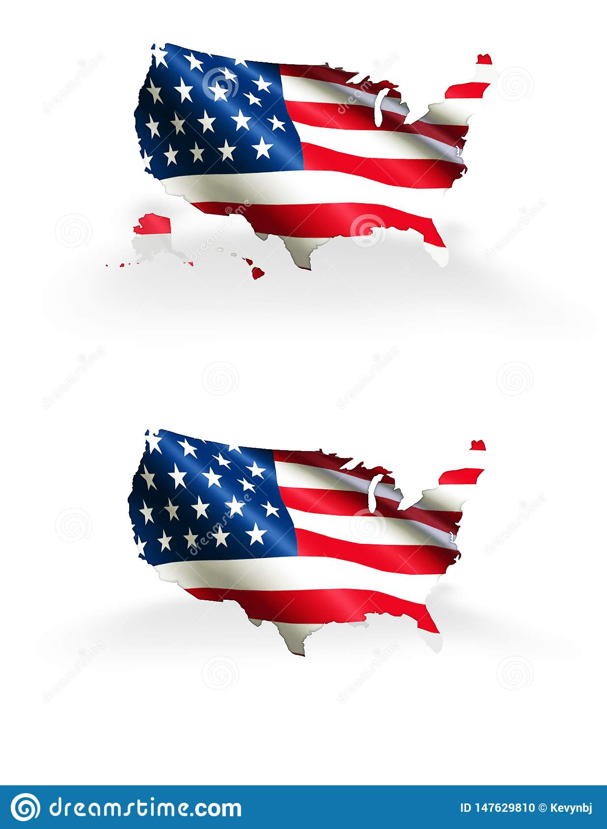 United States Map With Flag Outline America Hawaii And ...