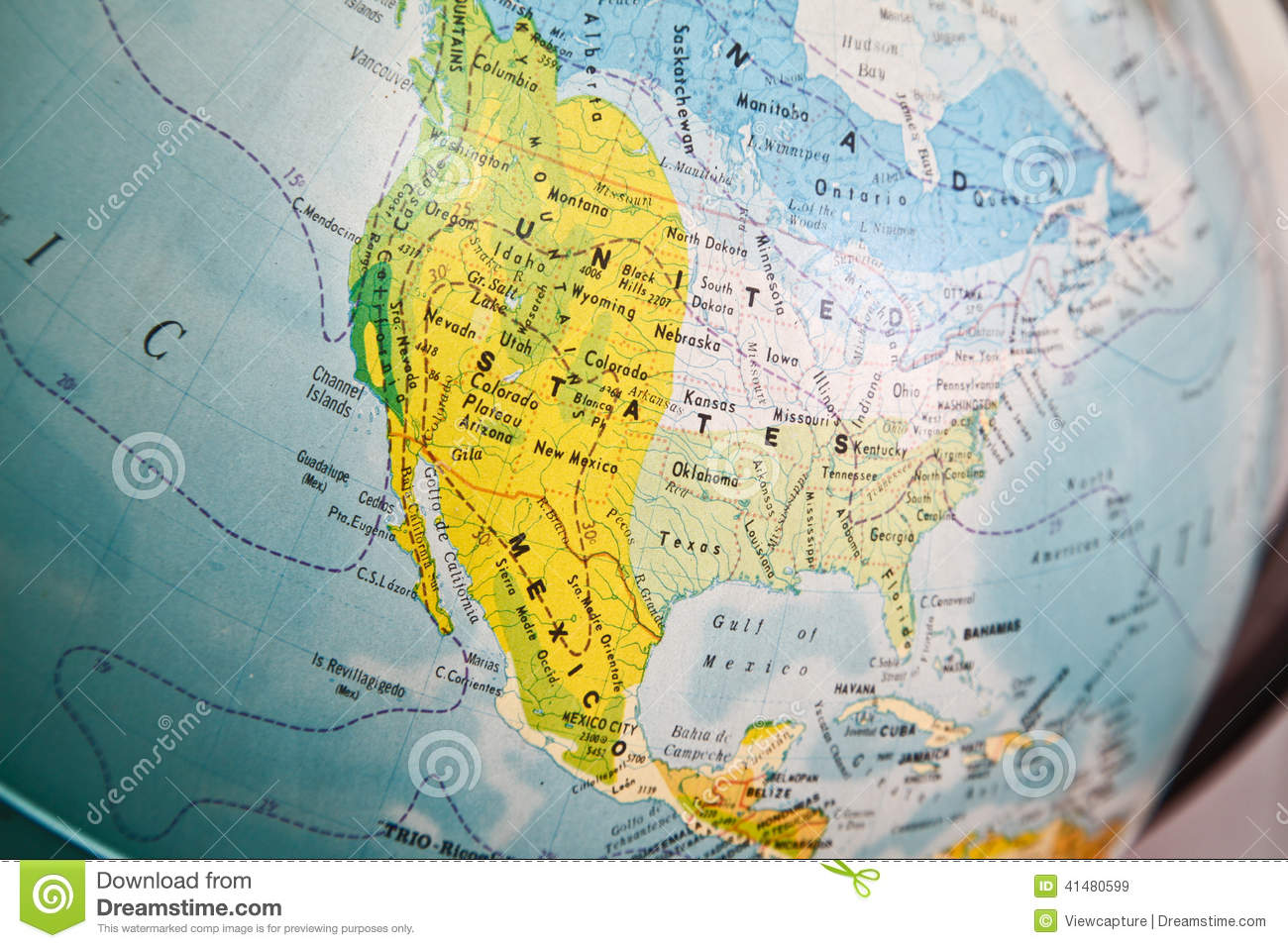 United States Map On A Globe Stock Photo Image - Us map close up